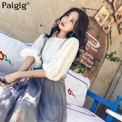 洋气小衫女2018新款白色蕾丝上衣打底衫长袖春装超仙气质套头女装