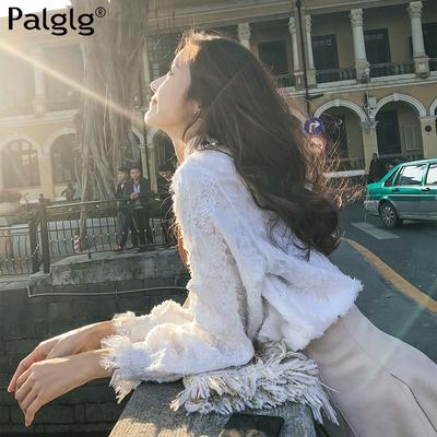 白色蕾丝打底衫女长袖春秋2018新款小衫雪纺上衣超仙甜美高领女装