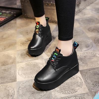 松糕跟厚底小皮鞋女学生韩版纯色ulzzang2018春季新款内增高女鞋