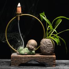 中式禅意茶宠倒流香炉陶瓷沉香檀香创意香薰炉家用风化木茶道摆件