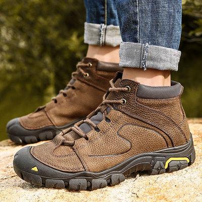 防水防滑户外登山鞋男真头头层牛皮加绒保暖大棉鞋户外徒步旅游鞋