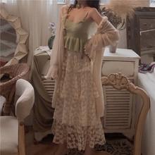 扑啦啦韩风高腰仙女蕾丝半身裙甜美蛋糕裙针织小吊带女防晒开衫