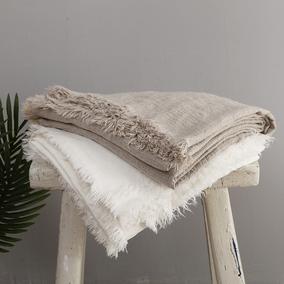 重磅手工流苏亚麻盖毯 沙发毯床搭毯高端样板房别墅样板间软装毯