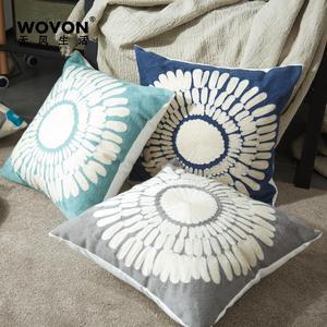 包邮毛巾刺绣抱枕北欧风简约几何靠垫腰枕高品质全棉帆布沙发垫