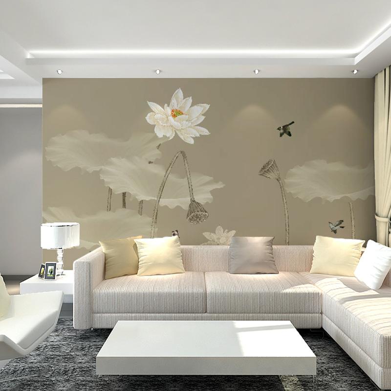 定制现代新中式墙纸沙发电视背景墙玉兰花鸟壁纸墙布客厅壁画卧室
