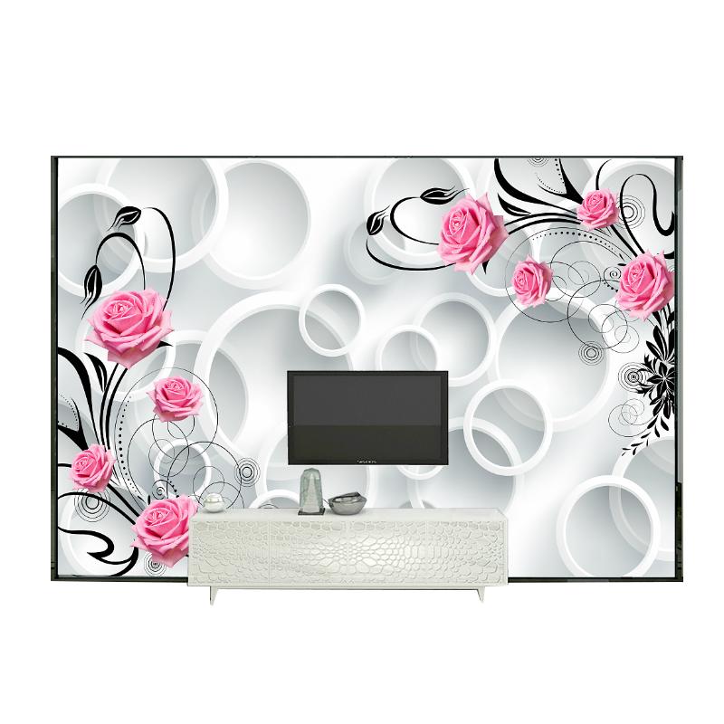 立体客厅卧室玫瑰花墙纸无缝大型壁画 3d5d 现代简约电视背景墙壁纸
