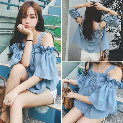 春夏装韩版女装性感一字领露肩短袖牛仔棉上衣服吊带t恤衫学生潮