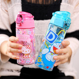 Cartoon kt cat summer portable plastic cup portable creative cute men and women large children's water cup cover straight drink cup