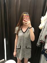 连衣裙7960 826 18秋季新款 撞色带饰双口袋斜纹软呢V领短袖 ETJ女装