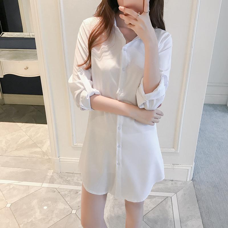 雪纺白衬衫女长袖2018春新款宽松韩版bf风上衣中长款打底衬防晒衣