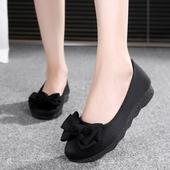 舒适孕妇鞋 黑色工作鞋 新款 时尚 女鞋 单鞋 平底软底豆豆鞋 老北京布鞋