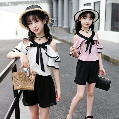 5女童套装两件8夏装中大童小学生女孩10雪纺系带12露肩13儿童15岁