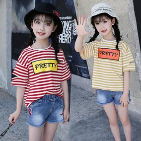 5女童短袖T恤2019夏装8中大童小学生女孩10割破12条纹13儿童15岁