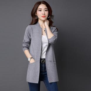 2019秋冬季女装韩版宽松大码中长款针织衫开衫毛衣外套披肩薄春装
