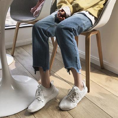 韩版新款裤脚小缺口宽松高腰直筒裤学生百搭蓝色九分牛仔裤女