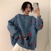 学生情侣装 童趣涂鸦上衣冬圆领加绒卫衣外套女韩版 原宿加厚长袖