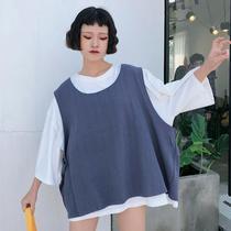 夏季女装原宿休闲套装百搭半袖纯色短袖上衣无袖T恤背心两件套潮