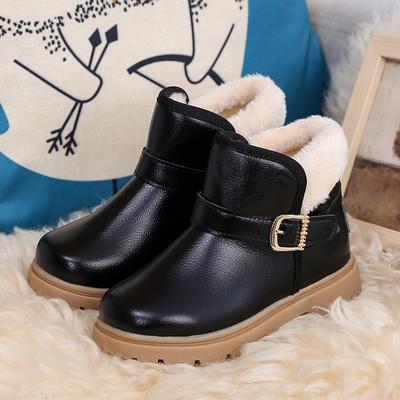 清仓处理儿童棉鞋冬季加绒加厚短靴防水防滑皮靴男女童大棉保暖鞋