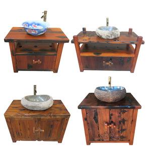 特价老船木洗手柜中式实木浴室柜组合台上盆阳台户外卫浴洗手盆柜