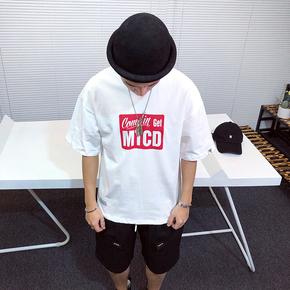 「郑小米」夏季美式休闲潮牌撞色字母印花宽松圆领短袖T恤男