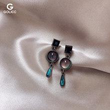 轻奢魅蓝复古宝石水晶耳坠925银针巴洛克风高级耳环小众简约耳钉图片