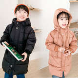 Haji Minton children's down jacket long thick autumn and winter girls hooded white duck down men's jacket big boy
