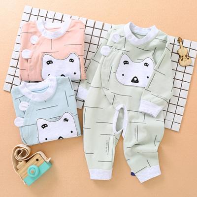 婴儿爬服纯棉满月宝宝连体衣春秋开档哈衣0-3个月6新生儿衣服春装