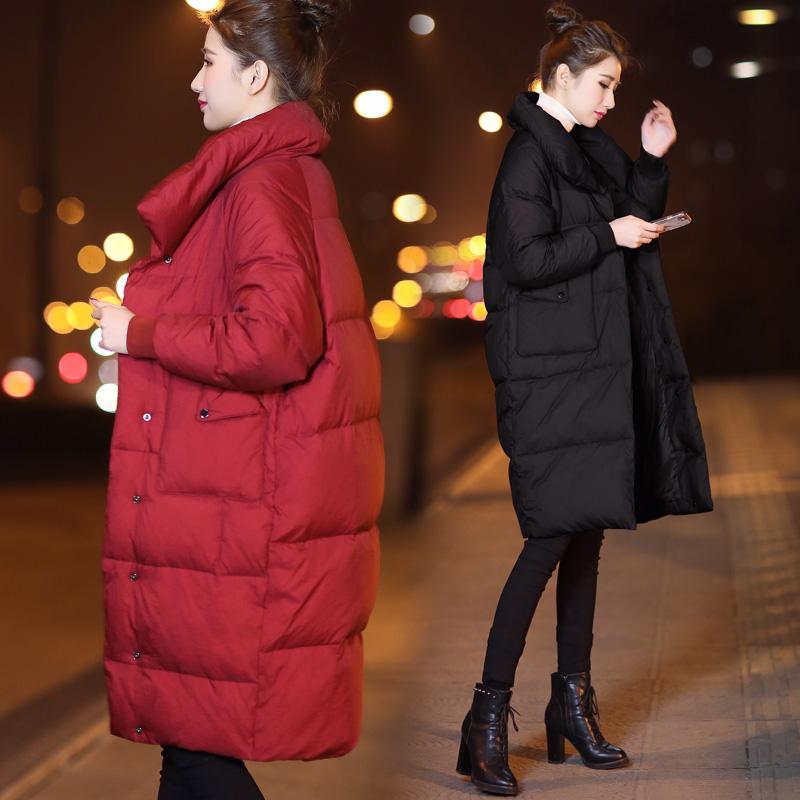 2017新款女装冬装宽松中长款羽绒服女黑色红色立领外套加厚面包服