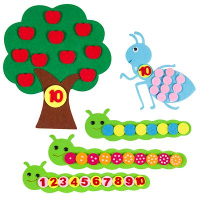 幼儿园区域材料苹果树毛毛虫点数配对DIY不织布蒙氏教学教具数学