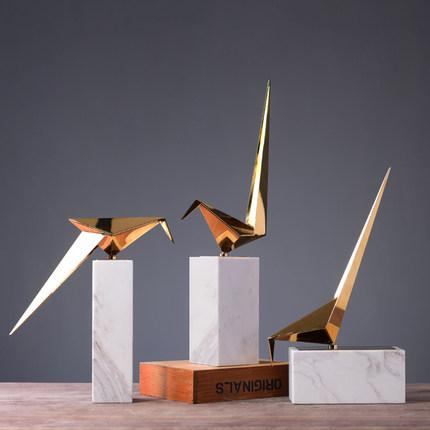新品北欧简约现代装饰摆设创意家居卧室千纸鹤金属摆件样板房