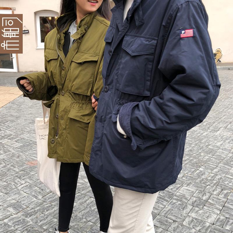 韩国 市舶司2018秋装新款宽松收腰工装夹克外套情侣棉服HB1068