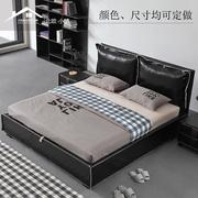 皮床小户型 简约现代双人床1.8米气动储物床北欧软包真皮床主卧床