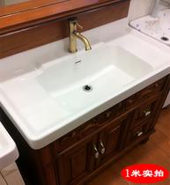 洗脸盆陶瓷台盆一体半嵌入式台上盆洗面盆洗手盆中边盆70 80 90长