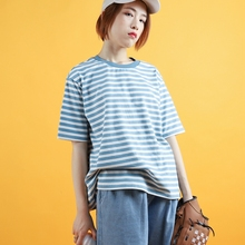 Branch Bud Short-sleeved T-shirt Female with Loose Blue-and-White Stripe in Summer 2018 New Retro Harbour Wind BF Naval Wind