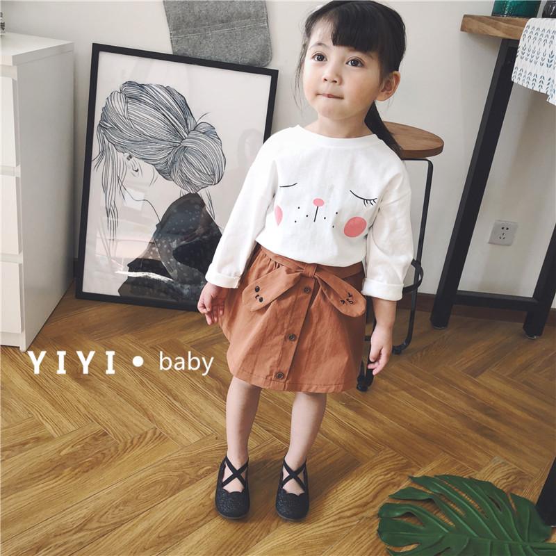 壹家童品韩国春夏童装女童短裙可爱娃娃半裙儿童气质A字裙