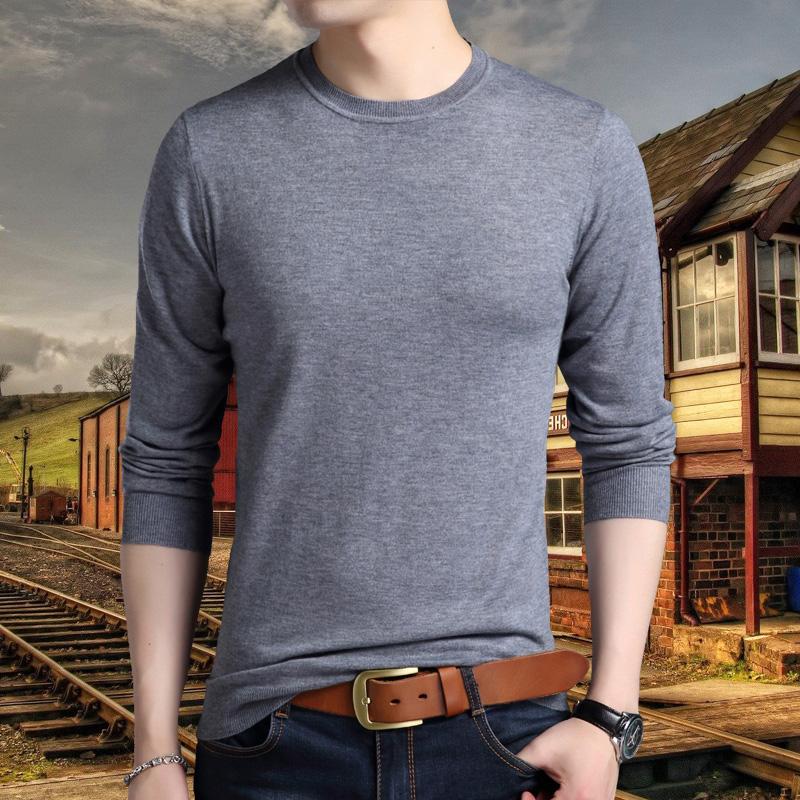 2017秋季韩版中青年男士长袖t恤圆领中青年男装针织衫圆领纯色