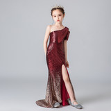 Girls dress skirt high-end violin piano costumes children models catwalk fashion slim fishtail evening dress