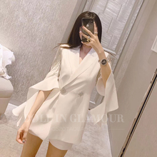 New Summer Outerwear of Lotus Leaf Sleeve Chiffon Loose and Thin Westernized Suit for Women 2019