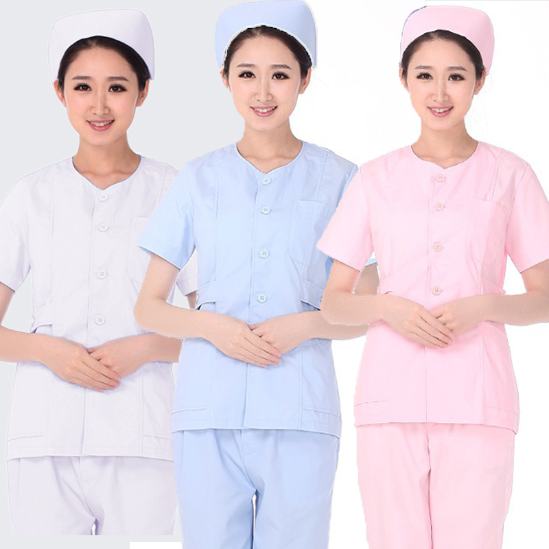 女护士分体套装两件套医院工作服母婴护理服装夏装短袖无领薄款