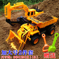Large inertia engineering truck children excavator bulldozer road roller forklift big truck toy boy suit model