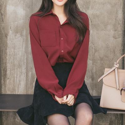 雪纺衬衫女长袖2018秋季新款韩版百搭宽松显瘦上衣白色衬衣打底衫