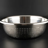 Thickened large basin stainless steel leak basin round water basin rice basket fruit basin water basin rice wash rice wash basin