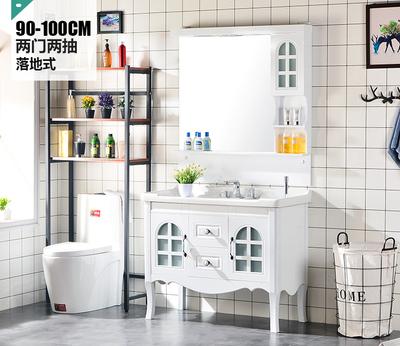 田园风PVC浴室柜组合 厕所洗脸盆面盆柜卫生间洗漱台洗手卫浴吊柜