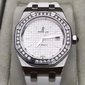 爱彼皇家橡树77321不锈钢镶钻33表径女士自动腕表二手95新