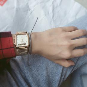 卡西欧电子表AQ-230A-1D经典复古款双显钢带男女手表AQ-230GA-9D