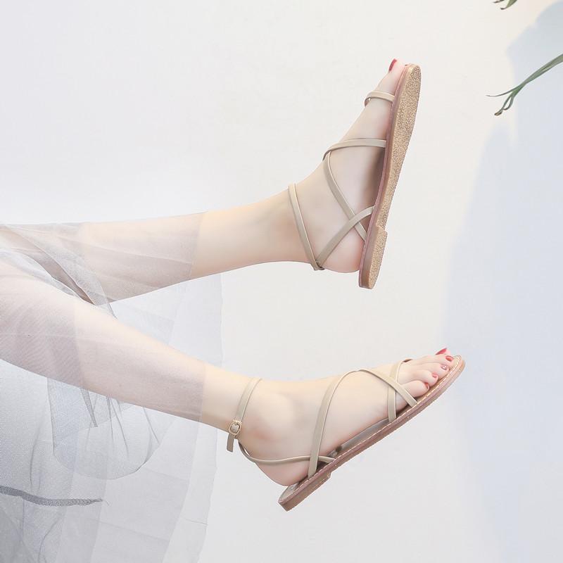 凉鞋女仙女风2019夏季搭配裙子穿的鞋子网红百搭温柔平底鞋ins潮