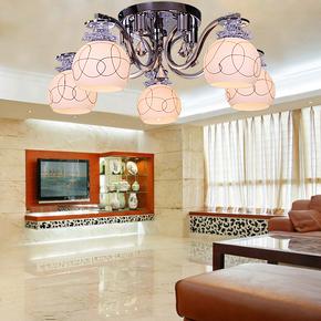 简约现代客厅灯具餐厅饭厅书房卧室圆形玻璃家用LED水晶吸顶灯饰