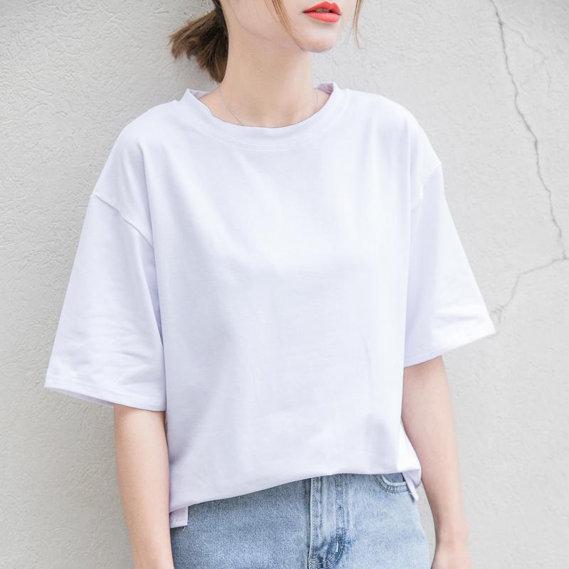 夏装新品纯色圆领t恤