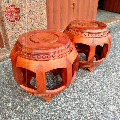 红木鼓凳缅甸花梨木圆凳换鞋矮凳鼓凳圆凳实木凳子中式绣墩化妆凳