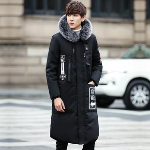 2017新款冬装男生羽绒服中长款过膝加厚韩版青年学生帅气潮流外套